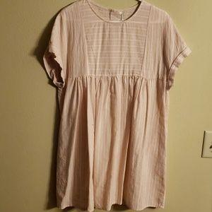 Babydoll pink/white striped boxy tunic/dress